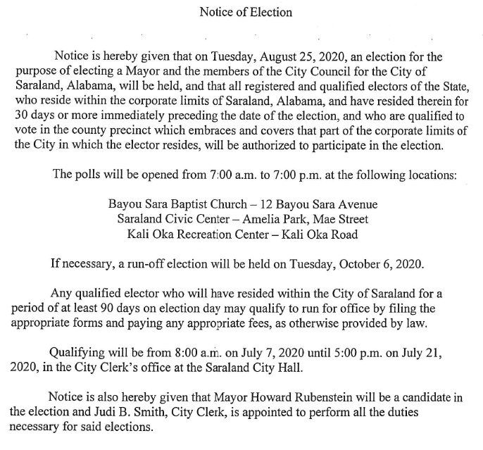 Notice of Election 2020